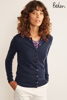 Boden Blue Cashmere Crew Cardigan