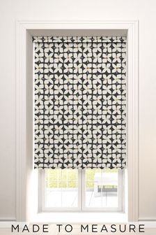 Retro Geo Floral Mono Black Made To Measure Roller Blind