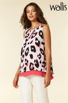 Wallis Coral Animal Print Double Layer Shell Top