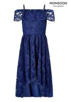 Monsoon Blue Lucy Lace Bardot Dress
