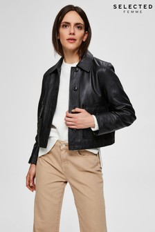 Selected Femme Black Leather Box Jacket