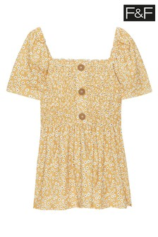 F&F Yellow Ditsy Milkmaid Top