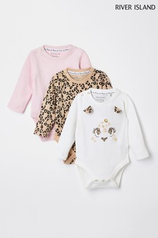 River Island White Leopard Babygrows 3 Pack