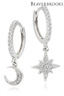 Beaverbrooks Sterling Silver Cubic Zirconia Moon and Star Earrings