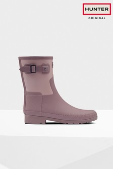 Hunter Pink Refined Short Texture Block Wellies