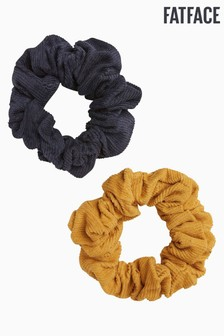 FatFace Yellow Cord Scrunchies Two Pack