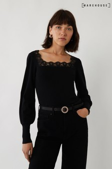 Warehouse Black Lace Square Neck Jumper
