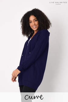 Live Unlimited Curve Navy Longline Zip Through Hoody