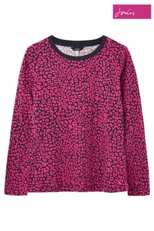 Joules Leopard Selma Long Sleeve Clean Crew Neck Top With Pop Neck Trim