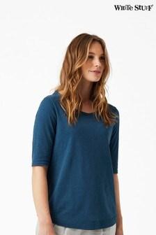 White Stuff Blue Weaver Jersey T-Shirt
