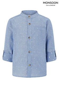 Monsoon Stuart Stripe Long Sleeve Grandad Shirt