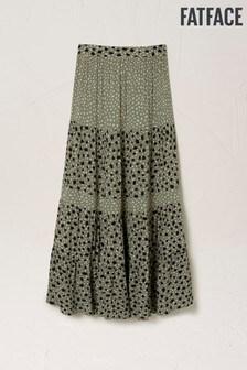 FatFace Green Beverley Double Spot Maxi Skirt