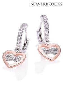 Beaverbrooks Plated Cubic Zirconia Heart Infinity Drop Hoop Earrings