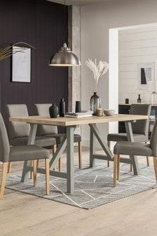 Malvern Dove Grey Trestle 6 Seater Dining Table