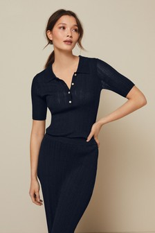 Pleated Polo Top