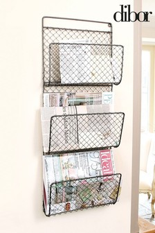 Hand Woven Wall Mounted Wire Magazine Rack by Dibor
