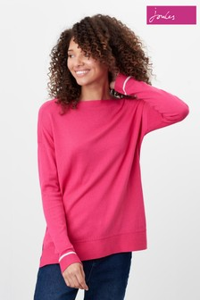 Joules Pink Vivianna Slash Neck Intarsia Block Jumper