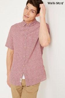 White Stuff Red Lanyard Linen Check Shirt