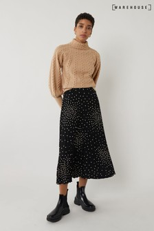 Warehouse Black Spray Spot Pleated Midi Skirt