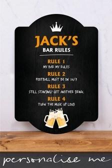 Personalised Bar Rules Metal Wall Art/Metal Sign