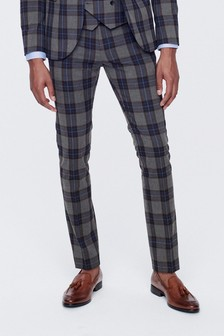 Super Skinny Fit Tartan Check Suit: Trousers