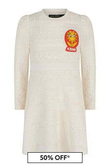 Girls Ivory Organic Cotton Flower Patch Sweater Dress
