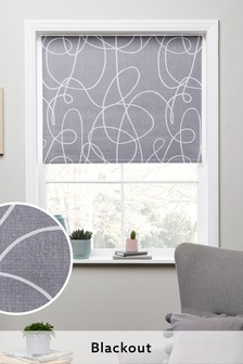 Grey Scribble Print Blackout Roller Blind