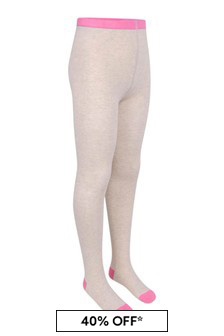 Girls Beige Marl Cotton Logo Tights