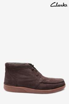 Clarks Dark Brown Combi Oakland Top Boots