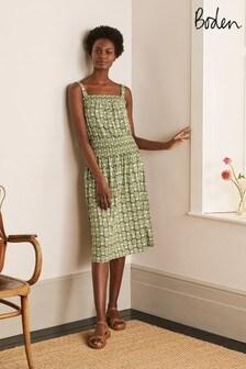 Boden Green Rosamund Smocked Jersey Dress