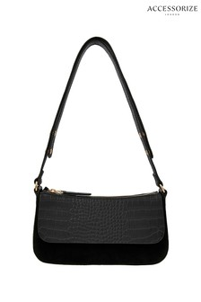 Accessorize Black Leather Baguette Bag
