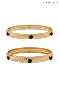 Accessorize Blue Stone Bangles Two Pack