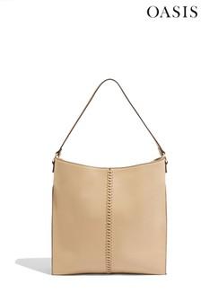 Oasis Grey Whipstitch Hobo Bag