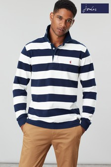 Joules Blue Onside Long Sleeve Stripe Rugby Shirt