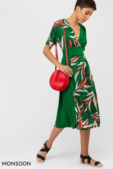 Monsoon Ladies Green Lorna Leaf Print Dress