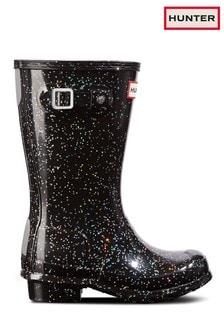 childrens black wellington boots