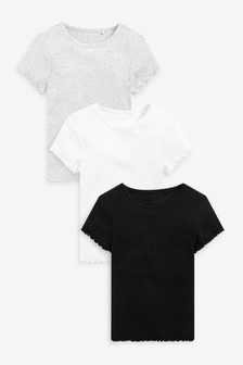 3 Pack Short Sleeve Ribbed T-Shirts (3-16yrs)