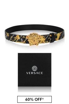 Versace Black/Gold Baroque Leather Belt