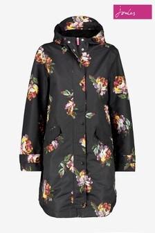 Joules Black Loxley Print Longline Waterproof Jacket