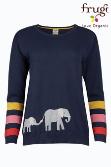 Frugi Navy Elephants GOTS Organic Cotton Jumper