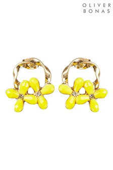 Oliver Bonas Johara Loop & Beaded Flower Stud Earrings
