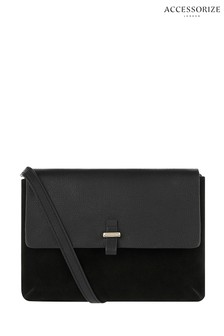 Accessorize Black Isabella Leather Cross Body Bag