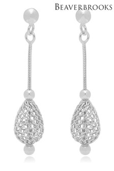 Beaverbrooks Silver Mesh Drop Earrings