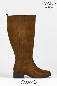 Evans Curve Brown PU Knee High Boots
