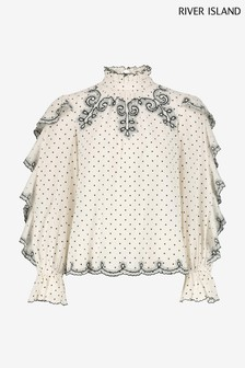 River Island Cream Frill Sleeve Broderie Top