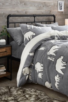 Fleece Polar Bear Duvet Cover and Pillowcase Set