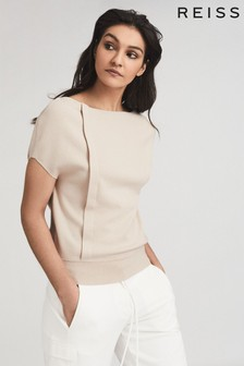 Reiss Pink Christa Knitted Drape Detail Top