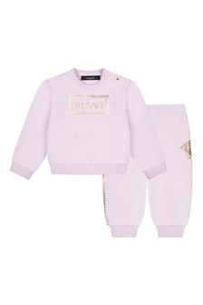 Baby Girls Pink Cotton Logo Tracksuit
