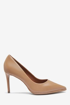 Signature Leather Pin Stud Court Shoes