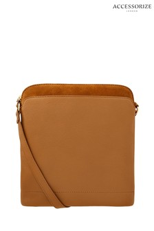 Accessorize Tan Dome Messenger Leather Cross Body Bag